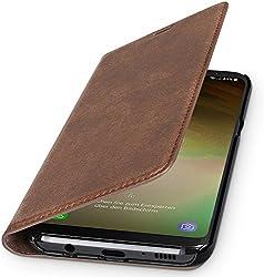 WIIUKA Echt Ledertasche -TRAVEL Nature- für Samsung Galaxy S9+ Plus, Vintage Braun -DEUTSCHES Leder- mit Kartenfach, extra Dünn, Tasche, Leder Hülle kompatibel mit Samsung Galaxy S9+ Plus