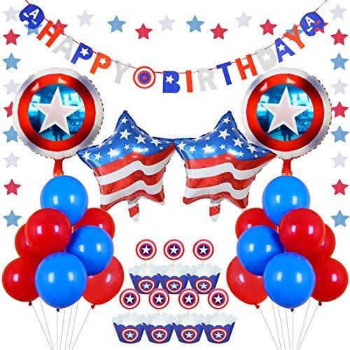 Kreatwow Rot Weiß Blau Partydekorationen Schild Ballons Cupcake Toppers Wrapper für Kinder Geburtstagsparty Dekorationen