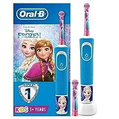 Idea Regalo - Oral-B Kids Spazzolino Elettrico Ricaricabile, 1 Manico con Personaggi Disney Pixar Frozen, 2 Testine di Ricambio, per Età da 3 Anni