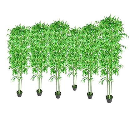 Festnight Set de 6 Planta De Bambú Artificial,Cañas de Bambú Reales y Hojas Tejidas,Hogar Decoración,190cm
