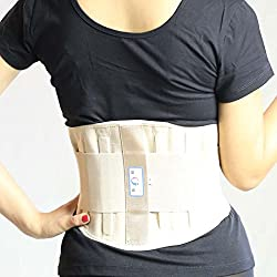 Generic Beige, M : Lumbar Support Pain Relief Protection Back Waist Support Plus Cotton Belt Brace Support Lumbar Brace Belt New sale hot YW-01M22