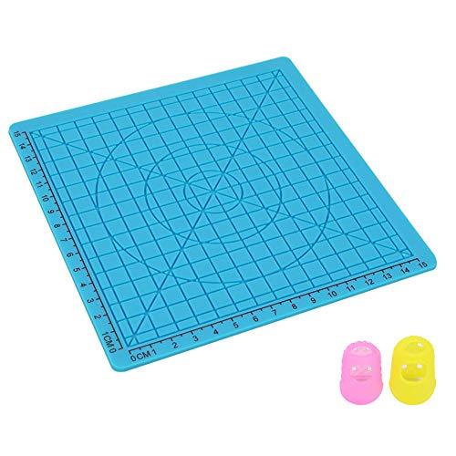 BLUCE 3D Druckstift Matte, 3D-Druck-Feder-Matte Mit 2 Silikon-Finger-Caps, Perfekte 3D-Zeichnung Zubehör Matte Für Kinder Erwachsene
