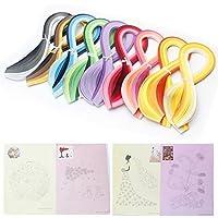 Paperolles pour quilling, 900pièces, 45 couleurs, largeur de 5mm et longueur de 39cm, avec 8motifs de dessins
