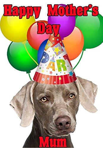 Weimaraner Hund Happy Mother 's Day Party Hat Karte chmd298personalisierbar Grüße