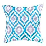 Gefülltes Kissen Blau Grau Geometrisches Design Wasserdicht Für Draußen Gartenmöbel - 3