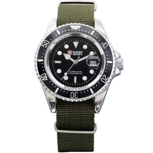 SHARK ARMY Herren Armbanduhr Quarzuhr Army Grün Armband aus Nylon Datumanzeige SAW014