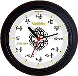 Lucky Clocks Mathe TRIBAL Abitur SCHULABSCHLUSS Wanduhren für Jeden Anlass mit jeder Beschriftung und Jedem Vornamen Namen erhältlich