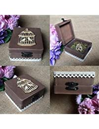 Alcoa Prime Wooden Ring Box Ring Holder With Birdcage Wedding Party Ring Bearer Gift Box