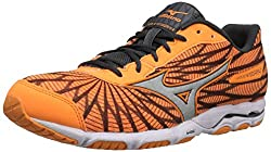 Mizuno Women Wave Hitogami 4 Running Shoe, Orangegrey, 8.5 B Us