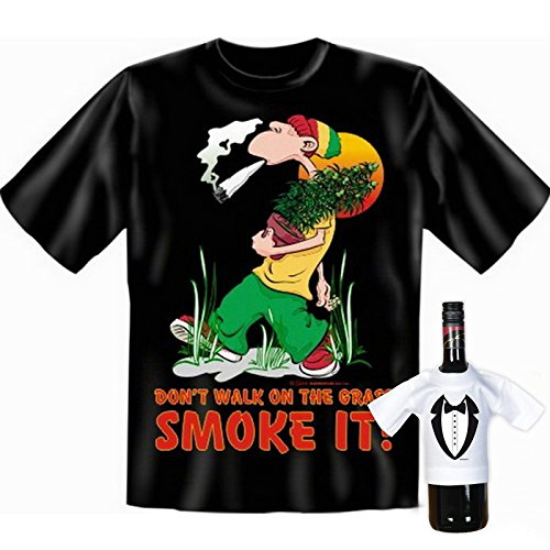 super Auftritt mit collem T-shirt-Set: Farbe: schwarz + DON´T WALK ON THE GRAS - SMOKE IT! + Schwarz