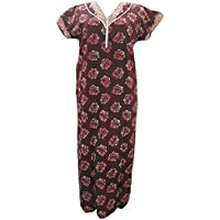 Mogul Interior Women's Summer Maxi Print Cotton Dress Medium Dark Sienna