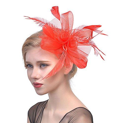 DOLDOA Damen Kostüm Accessoires Frauen Blume Mesh Bänder Federn Stirnband Cocktail Tea Party Hat Headwear (Freie Größe, Rot)