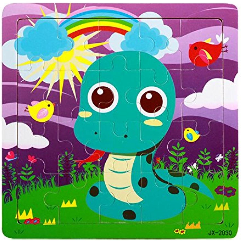 Jouets éducatifs de puzzle pour les enfants enfants enfants Adorable Puzzle éducatif en bois au début des jouets animaux d'apprentissage des cadeaux fantastiques pour les enfants (serpent) b931a0