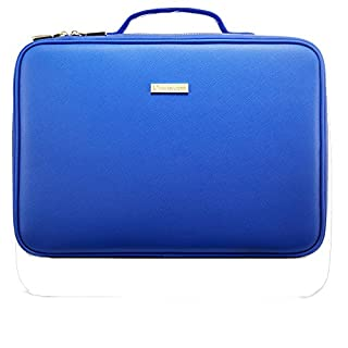[Gifts for women] ROWNYEON PU Leather Makeup Bag Portable Makeup Artist Case Professional Makeup Train Case With Adjustable Dividers Best Gift For Girl (Medium, blau)