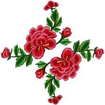 (Pack of 2) doble capas peonía flores de Vine bordado Appliques coser o hierro EN parches