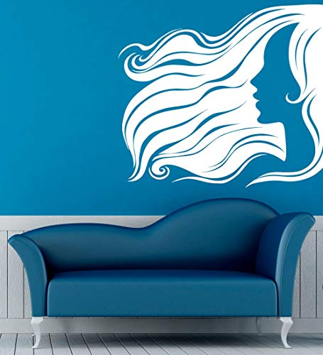 Wall Decal Hairstyle Beauty Salon Girls Home Vinyl Wall Stickers Interior Houseware Removable Woman DIY 86x77cm ()