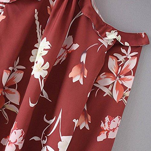 ADESHOP Chic Mode Femmes Ruffles Imprimé Floral Tops Off Épaule Manches Longues Femme Impression Lanterne Chemise Femmes Printemps et Automne Mode Décontracté Lâche Blouse Du vin