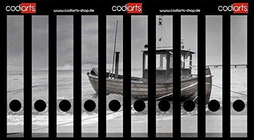 Set 10 Stück Ordner-Etiketten selbstklebend Ordnerrücken Sticker Fischerboot am Strand schwarz weiß (Fischerboot Weißes)