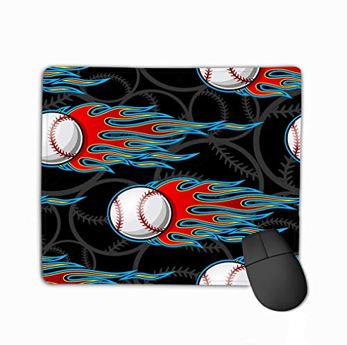 Mousepad Non Slip Rubber Personalized Unique Gaming Mouse Pad 11.81 X 9.84 Inch Seamless Printable Pattern Baseball Softball Balls hot Rod Flames ideal Wallpaper Packaging Modern -