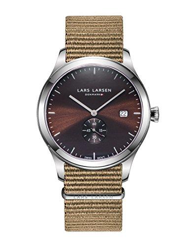 Lars Larsen Montre bracelet en acier inoxydable pour homme avec bracelet Nato–129sbon