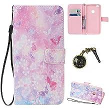 PU-Leder Schutzhülle, Strass, Flip-Case, aus Kunstleder, Brieftaschenformat, Hartschale, verziert, für Huawei P8 Lite (2017) + Staubschutzverschluss 8