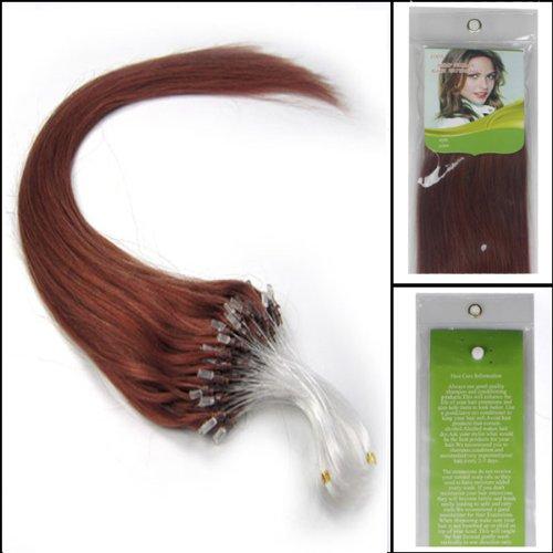 100S Extensions de cheveux naturels à anneaux Faciles à poser Cheveux raides Couleur 33 Brun foncé 40,6 cm