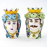 Teste di Moro siciliane, Coppia Teste di Moro Fatte a Mano, ceramiche...