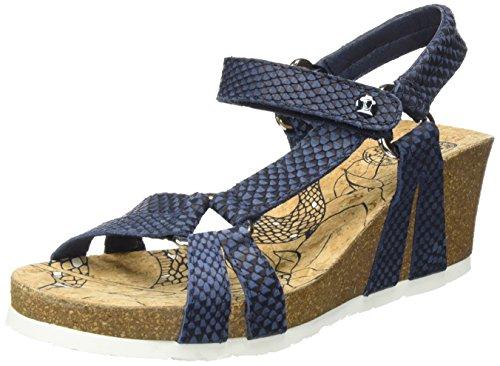 PANAMA JACK Damen Violetta Snake Offene Sandalen mit Keilabsatz Blau (Navy)