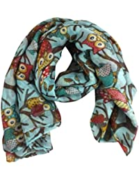 Blue Owl On A Branch Print Wide Scarf