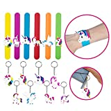 8 Pcs Unicorn Key Chains,6 PcsUnicorn Slap Bracelet Silicone Wristbands Unicorn Party Supplies Kids Party Favors Decorations Cute Assorted Unicorn Wristbands Novelty Toy School Prize Gifts Children Goodie Bag Fillers