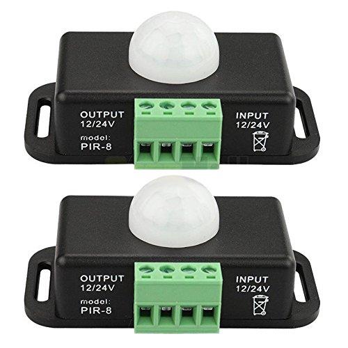 TOOGOO 2 X DC 12V / 24V 8A Koerper Infrarot PIR Bewegungsmelder Schalter LED Lichtleiste Automatik, schwarz