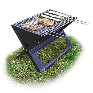 Relaxdays Klappgrill, mit Kohle-und Grillrost, klappbarer Faltgrill, Picknick und Camping, HBT 30×45,5x30cm, schwarz