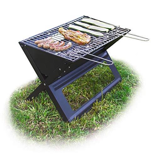 Relaxdays, Negro Barbacoa portátil con Parrilla de carbón y Rejilla, Plegable, Pícnic y Camping...