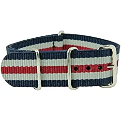 rod Outdoor Textile Band Bridge, Blue/Red/White Width: 18 mm