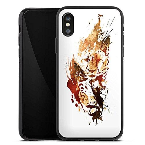 Apple iPhone X Silikon Hülle Case Schutzhülle Gepard Street Art Leo Silikon Case schwarz
