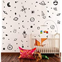 Black Space Wall Decal (79Pcs), Solar System Planet Wall Sticker for Kids Room Classroom Decoration, Minimalist Planets Stars Vinyl Decal