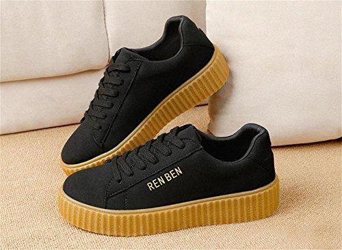 ALUK- Printemps Et Automne Coréen occasionnels Chaussures plates chaussures dentelle ( couleur : Noir , taille : 36 ) Noir
