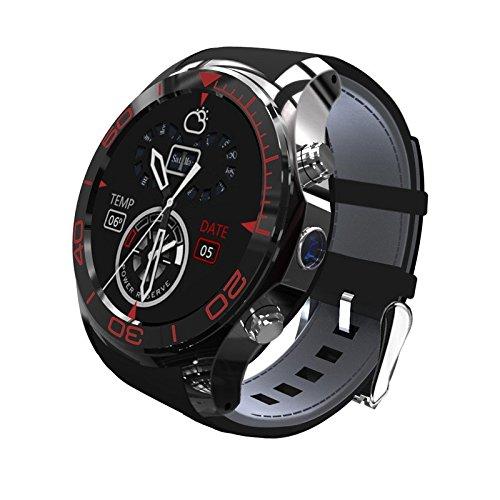 Wilabuda Reloj Inteligente a Prueba de Agua dial Redondo WiFi Video GPS Video Llamada de posicionamiento Bluetooth Pulsera de conexión inalámbrica, Negro