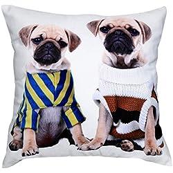 Cojín con dos hermosos perros de Pug