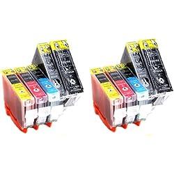 Multipack = 10 Compatible XL Cartouches d'encre avec PUCE & contrôle du niveau, pour Canon CLI-8 PGI-5 (CLI-8BK, CLI-8M, CLI-8C, CLI-8Y, PGI-5BK) directement applicable, pour imprimantes Canon Pixma MP 960, Pixma MP 970, Pixma MP 610, Pixma MP 950, Pixma IP 4200, Pixma IP 4200X, Pixma IP 4300, Pixma IP 4500, Pixma IP 4500X, Pixma IP 5200, Pixma IP 5200R, Pixma IP 5300, Pixma MP 500, Pixma MP 530, Pixma MP 600, Pixma MP 600R, Pixma MP 800, Pixma MP 800 R, Pixma MP 810, Pixma MP 830, Pixma Pro 9000, Pixma Pro 9000 MarkII, Pixma IP 6600, Pixma IP 6600 D, Pixma IP 6700 D, Pixma MX 850 - SilverTrade GmbH (Silvertrade ©)