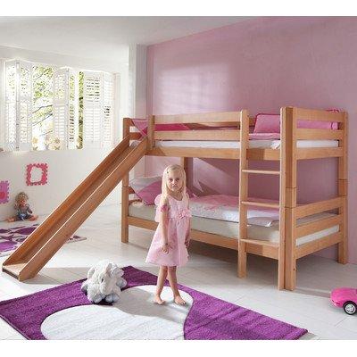 Relita lits superposés beni avec toboggan-modèle de couleur bois naturel laqué