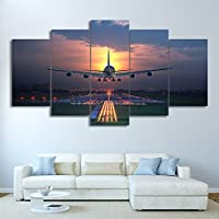 mmwin Painting Living Room Wall Art 5 Panel Sunset Lights Airplane Lawn Poster Canvas Modular Print Decoration Cuadros Picture