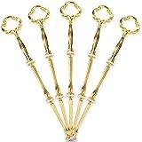 5 x Gold Blume Motive mini Metallstangen Mittellochausstech für 2 bis 3 Etage Etagere Etagenplatte Hochzeitstorte Tortenständer 21cm