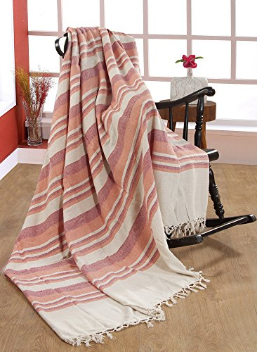 EHC 172 x 228cm, 100% Cotton Stripe Large 2 Seater Sofa/Chair or Double Bed Throw, Machine Washable-Natural/Coral