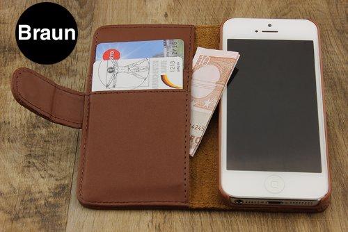 iPhone 5 / 5s / SE Étui, Urcover Housse Style Livre Coque Apple iPhone 5 / 5s / SE Case [avec Fente pour Cartes + Support] Téléphone Marron Smartphone Marron