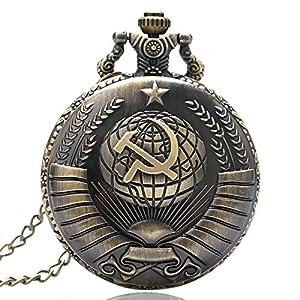 Antike Sowjetische Sichel Hammer Stil Taschenuhr Mit Halskette Kette Xmas Männer Frauen