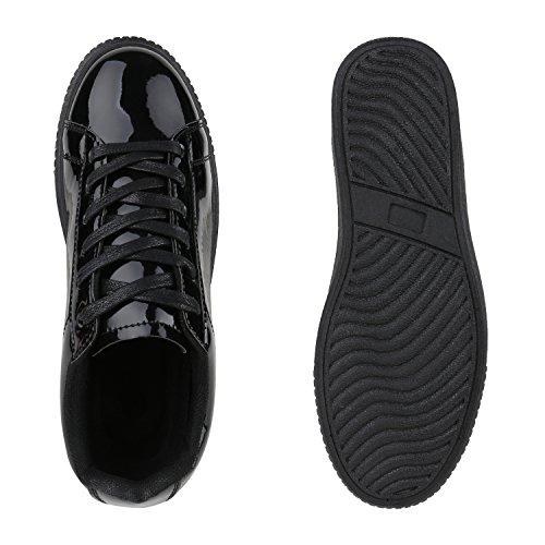 2ab4fa23e63fb2 Damen Sneakers Basic Sportschuhe Schnürer Lederoptik Schuhe Schwarz Lack