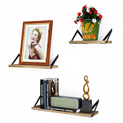 Roolee set di 3 mensole da parete a sospensione ripiani in legno decorazione e abbellimento stanza da letto soggiorno cucina ufficio e altro (finitura fiammata)