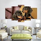RALCAN Hd Gedruckt 5 Stück Leinwand Kunst Hunderasse Malerei Wandbilder Für Wohnzimmer Schlafzimmer-20x35cmx2 20x45cmx2 20x55cmx1