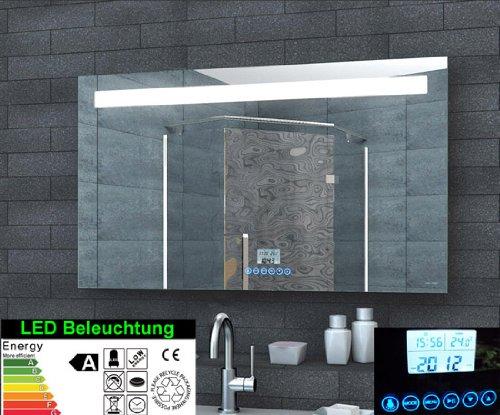 Lumière LED Miroir Radio-réveil commutateur tactile MP3 120x60cm ...